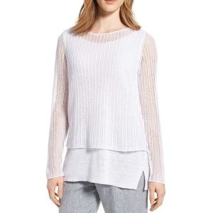 NEW Eileen Fisher Linen White Knit Mesh Tunic M